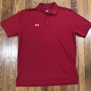Under Armour Heat Gear Dark Red Stretch Polo Shirt